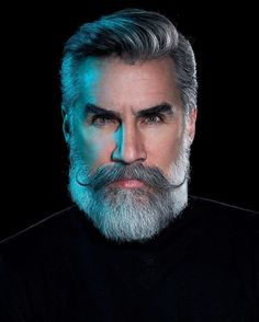 Black Suit,Imperial Beard with Handlebar Mustache for men Beard And Mustache Styles, Beard Styles For Men, Beard No Mustache, Hair And Beard Styles, Long Hair Styles, Mens Hairstyles With Beard, Haircuts For Men, Barba Grande, Grey Hair Men