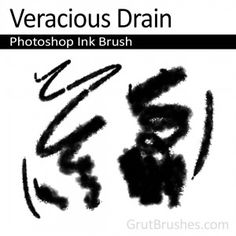 """Veracious Drain"" - Photoshop Ink BrushA splattery, rough edged ink brush with an intermittent line that softly bleeds into the paper with moderate pressure. Artist Brush, Photoshop Brushes, Cool Photos, Graphic Design, Ink, Paper, Painting, Painting Art, Paintings"