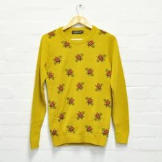 Run and Fly Mustard Yellow Bee Jumper Sweater Unisex Geeky Quirky Mustard Yellow, Printed Shirts, Jumper, Bee, Tesco Direct, Graphic Sweatshirt, Unisex, Pullover, Running