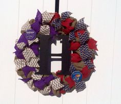 Burlap House Divided Wreath/KU/KSU.  Chevron sets this wreath off!  Add a personal touch with the Initial.  Connect with us at www.facebook.com/2friendswreaths  $60