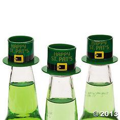 """Happy St. Pat's""  Hat Bottle Toppers"