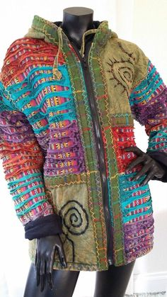 Medium made in nepal fleece lined fitted cotton embroidered hooded jacket