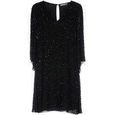 Alice + Olivia Short Dress (8.857.460 VND) ❤ liked on Polyvore featuring dresses, black, v-neck sequin dresses, alice olivia dress, short dresses, v neck short dress and 3 4 length sleeve dress