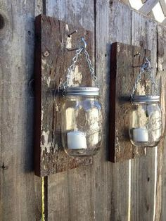 Rustic barn wood mason jar sconces by Thesalvagednail on Etsy by ruthie