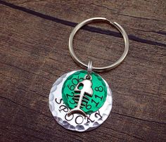 Green Pet Tag - Green Cat Tag - Distressed Pet Tag - Dog ID Tag - Dog Tag- Green Dog Tag - Cat Tag with Fish Charm - Small Cat Tag - Cat Tag