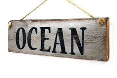 "Ocean--Beach Inspired Distressed, Reclaimed Wood Sign--21"" x 6"" on Etsy, $19.99"