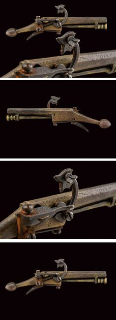 A very scarce miniature matchlock pistol, dating: circa 1600 provenance: London Smooth, octagonal barrel, worked in one piece with the stock. Hammer, spring, trigger and pan cover all made of iron. Brass ramrod under the barrel. Functioning.The pistol was found in the river Thames, it was restored by Howard Blackmore, Master of the Armouries at the Tower of London.