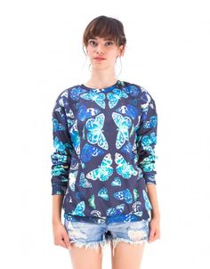 Butterflies Printed Blue Polyester Sweatshirt by Mr. Gugu & Miss Go