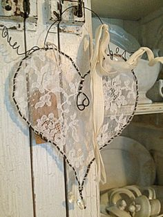 Hanging Wire Lace Heart ~ by ~ Rebeccavintageliving ~ I always love the hearts and angle wings that are made in this fashion, with the lace ~ so pretty~❥ corazon mueble Wire Crafts, Diy And Crafts, Arts And Crafts, Lace Heart, Heart Art, I Love Heart, Heart Crafts, Wire Art, Heart Shapes