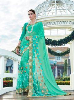 Sea Green Georgette Party Wear Saree 85339