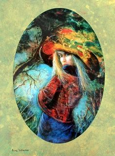 "Rina Sutzkever Hand Signed and Numbered Limited Edition Embellished Lithograph on Wood: "" Untamed Beauty  """
