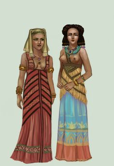In ancient Egypt, women wore close-fitting kalasiris, held in place with straps. The garment was long enough to cover the ankles and it could end below or over the breasts. It was was worn various types of coats. Depending on the period, either wigs or natural hair were favoured. Also, most people went barefoot. Fashions in ancient Egypt didn't change much thorough the years Egypt .:1:. by Tadarida. on @DeviantArt