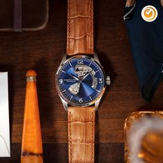 The Jazzmaster Open Heart combines quality craftsmanship and a glimpse of the decorated movement inside. Fine Watches, Cool Watches, Watches For Men, Hamilton Jazzmaster, Cold Hands, Calf Leather, Calves, Accessories, Heart