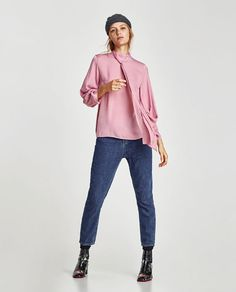 ZARA - EDITORIALS - BLOUSE WITH BOW AND FULL-BODIED SLEEVES