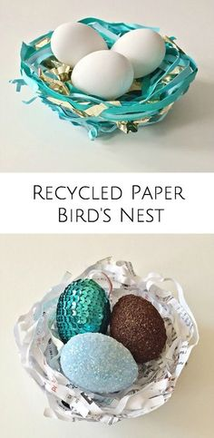 Make pretty bird's nests from recycled paper with tipsl on how to decorate eggs 3 ways! Fun spring and Easter craft for kids.