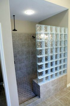 Suitable standing shower tile ideas only in indoneso design Small Shower Remodel, Bath Remodel, Glass Blocks Wall, Glass Walls, Glass Block Shower, Standing Shower, Corner Bath, Glass Bathroom, Bathroom Shower Faucets