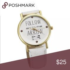 Follow Your Arrow Watch Adjustable follow your arrow gold hardware and leather strap watch. One size fits all. Accessories Watches