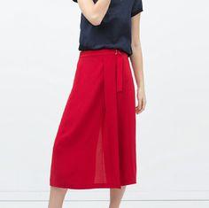 Buckle waist sarong skirt Zara buckle waist red sarong skirt. Size medium Zara Skirts