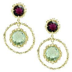 Garnet and Green Amethyst Drop Earrings by Mounir