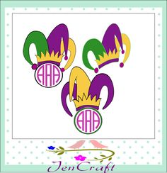 Jester Crown New Orleans Svg Cuttable Design Frame Monogram SVG EPS Png   DXF, Cricut Design Space, Silhouette Studio, Cuttable Files by JenCraftDesigns on Etsy