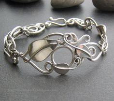 Sterling silver leaf and vine bracelet, tendrils, woven branches, handmade, soldered metalwork link bracelet, linked leaves