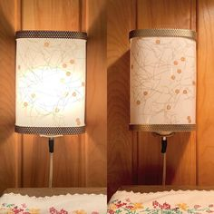 New listing!  1950s wall sconce. Fiberglass shade with gold threads and sequins - click onto photo for close up. Retro Lighting, Back Plate, Mid Century House, Etsy Shipping, Mason Jar Lamp, Wall Sconces, Wall Mount, 1950s, Table Lamp