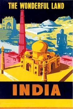 INDIA - THE WONDERFUL LAND- Vintage travel poster