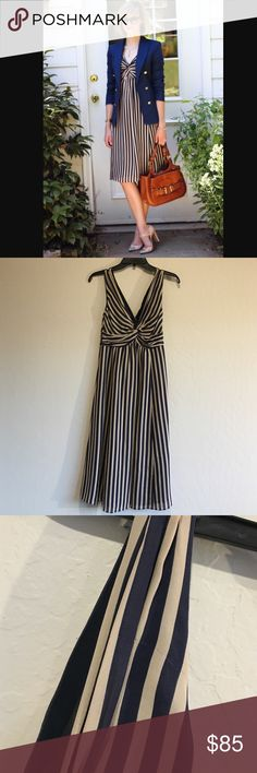 """💋Price cut💋Ted baker nude stripe dress Beautiful and simply elegant. Wore once for a wedding but now it doesn't fit anymore. There are 2 areas where threads come out. See the picture. Measurement armpit across 15"""". Waist 14"""". Fall 41""""from shoulder. Side zipper. Lining so not see thru. 100% silk. Lining 100% polyester No trade. No model since I will tear this dress lol. Price is firm unless bundle. Size 1 in Ted baker = size 2 or 0. Baker by Ted Baker Dresses Midi"""