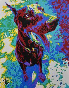 MODERN DOG PORTRAIT. Custom pop art dog pet by AudreyPetPortraits
