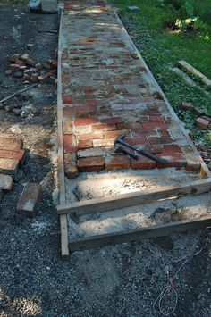 salvaged brick walkway - summer project