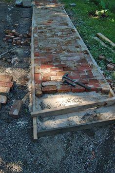 my salvaged brick walkway