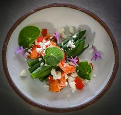 wild salmon & haricot salad with nasturtium and feta