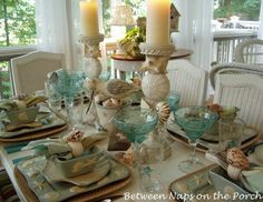 Beach Themed Table Setting from Susan at BNOTP
