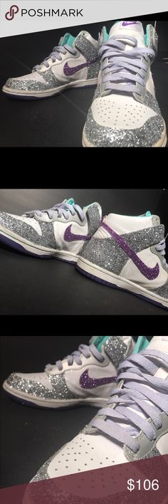 Custom bling/sparkle Nike purple & silver hightops ✨ THESE SNEAKERS ARE EXTRA SPARKLY!  These great shape sneakers are a pair of custom bling Nike high tops! They are silver & purple with so much sparkle, it's hard to see in these pics! These are used sneakers. THEY SPARKLE & BLING A LOT! They are a size 4y in girls, or a 5.5-6.  #nike #jordan #hightop #airjordan #bling #sparkle #glitter #sneakers #kicks #custom #upcycled #purple #silver #statement #duncs #basketball #revamped #style #unique…