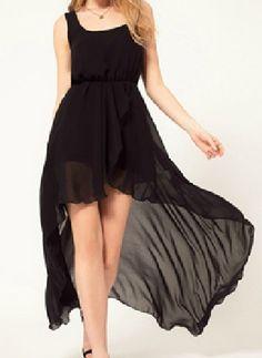 #Sheinside Black Scoop Neck Sleeveless Asymmetrical Mid Waist Chiffon Dress