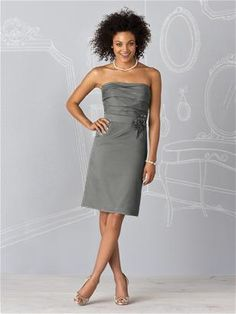 Alfred Sung bridesmaid dress style 6607 in charcoal gray cotton voile. A fresh & summery bridesmaid dress! Available at Miss Ruby Boutique - www.missrubyboutique.com!