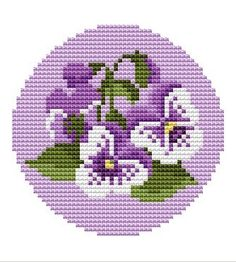 Free Cross Stitch Patterns: Viola Flower Cross Stitch Pattern - This could be used for tunisian crochet Free Cross Stitch Charts, Mini Cross Stitch, Cross Stitch Needles, Cross Stitch Flowers, Cross Stitching, Cross Stitch Embroidery, Embroidery Patterns, Cross Stitch Designs, Cross Stitch Patterns
