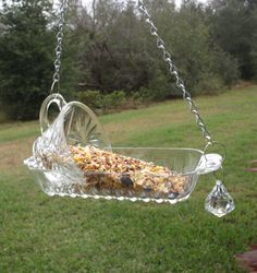 Vintage Punch Cup Hanging Bird Feeder Glass Repurposed