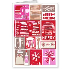 Christmas card with a lot of trendy and merry papercut images.