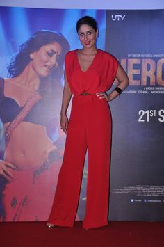 #KareenaKapoor in a red jumpsuit at Heroine trailer launch.. Do you LIKE it?