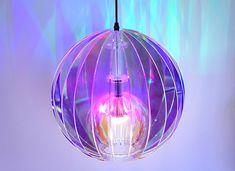 Disco light in iridescent acrylic.