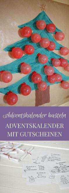 Adventskalender basteln: Dieser Weihnachtsbaum Adventskalender mit Luftballons eignet sich sowohl als Kinder Adventskalender als auch als Adventkalender für Erwachsene. Statt einen Adventskalender mit Süßigkeiten oder einen Adventskalender mit Geschenken zu basteln, kann man auch einen Gutschein Adventskalender selber machen. In den Luftballons bzw. Weihnachtskugeln befinden sich jeweils ein Gutschein für eine weihnachtliche Aktivität.