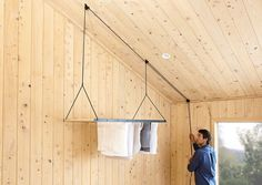 Recently spotted from New Zealand makers George & Willy: a hanging drying rack that raises and lowers on a pulley system, creating an instant laundry r