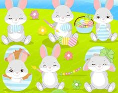 Happy Easter Digital Clipart by LittleMoss on Etsy