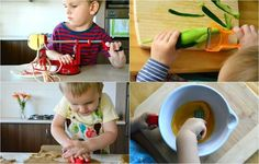 Transferring food at fifteen months (from chopping board to pan), Using a vegetable cutter at 17 months, Using tongs at 17 months, Washing food (and independently making snack) at 18 months.  As I've