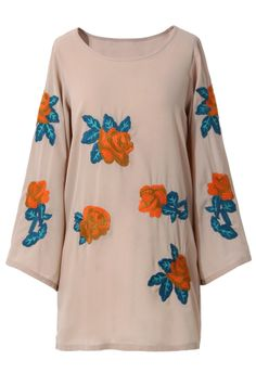 Floral Embroidered Nude Tunic