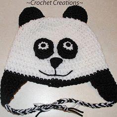 Crochet Creative Creations- Free Patterns and Instructions: Crochet Panda Bear Child Ear flap Hat
