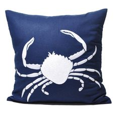 Beach Crab Pillow Cover, Navy Blue Linen White Crab, Decorative Throw Pillow, Pillow Case 18 x 18, Beach Couch Pillow, Blue Pillow on Etsy, $24.00