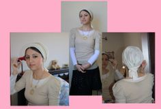 fancy apron style headscarf tichels, unique headcoverings cover your hair and look good at the same time