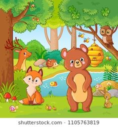 Buy Fox and Bear in the Forest by svaga on GraphicRiver. Fox and bear in the forest. Vector illustration with wild animals. Flying forest in cartoon style. Art Drawings For Kids, Drawing For Kids, Easy Drawings, Wild Animals Drawing, Animal Drawings, Animal Coloring Pages, Coloring Books, Cartoon Styles, Cute Cartoon